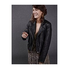 This smile @emma_leth #model #wearing #mouvel #leoprint #skirt #bauf #leather #Jacket #smile #happy #secondfemale #campaign