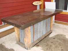 outdoor bar!  metal and wood, love the style