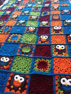 crochet blanket owl, háčkovaná deka