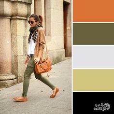 Olive, black and burnt orange Colour Combinations Fashion, Color Combinations For Clothes, Fashion Colours, Colorful Fashion, Color Combos, Fall Color Palette, Colour Pallete, Color Balance, Color Harmony