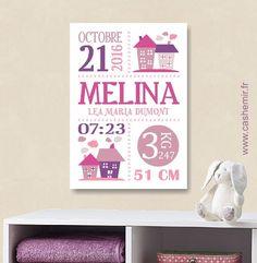 Cadeau de naissance fille personnalisé, affiche de naissance, décoration chambre bébé enfant - Fichier Imprimable - n°116 : Autres papeterie par cashemir