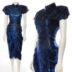 STUNNING-SAPHIRE-BLUE-BLACK-METALLIC-BROCADE-RUCHED-CAP-SLV-VINTAGE-70s-DRESS-M