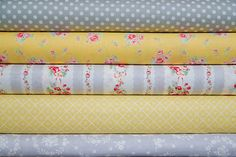 LOVE THIS! Gray/Yellow/Pink Vintage fabric bundle, 1/2 yard each $25 for 5 half yard pieces