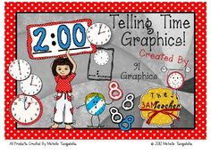 I have created a set of 91 (color and b/w) telling time graphics. My designs are created with the purpose of providing teachers with graphics to ke...