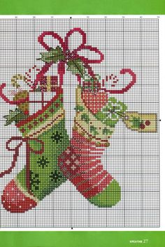 Cross-stitch Christmas Stockings.. no color chart available, just use pattern chart for your color guide.