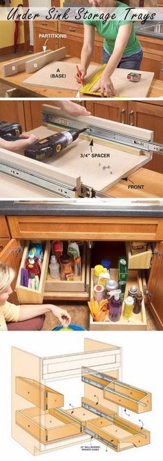 DIY Pull Out Kitchen Sink Storage Trays.