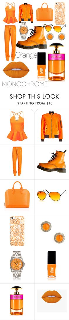"""""""The Orange Outfit"""" by a-rushing ❤ liked on Polyvore featuring Boohoo, Moschino, Dr. Martens, Louis Vuitton, Casetify, Syna, JINsoon and Prada"""