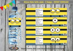 MINIONS Water Bottle Labels  Printable  by LollipopPartyDesigns
