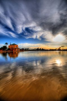 ~~The Menara Gardens, Marrakech - II ~ sunset and cloud reflections on a rippling lake, Marrakesh, Morocco by 5ERG10~~