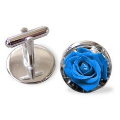 Blue Rose  Cuff Links Cufflinks Round Glass Hand made CuffLinks 20mm