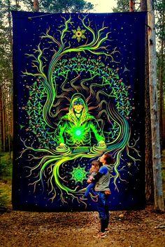 Backdrop Crystal Elf Psychedelic Deco Wandbehang 3m x 4,5m Hippie Goa Bild Art