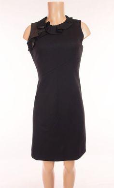 ELIE TAHARI Dress 4 S Small Black Wool Stretch Leather Ruffle Trim Wear To Work #ElieTahari #Sheath #Cocktail