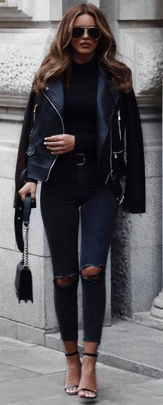 So tragen Sie eine Lederjacke: 30 Outfits, an die Sie noch nicht gedacht haben This is how you wear a leather jacket: 30 outfits that you have not thought of yet have Rome Fashion, Fashion Mode, Trendy Fashion, Winter Fashion, Fashion Trends, Fashion 2018, Women's Fashion, Fashion Styles, Trendy Style