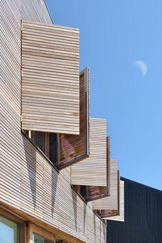 Modern wood window shutters. Detail Architecture, Timber Architecture, Residential Architecture, Modern Wooden House, Timber House, Wood Windows, Casement Windows, Bay Windows, Wooden Window Design
