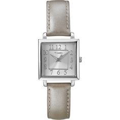 Timex Womens T2P095 Metallic Taupe Leather Strap Watch | Overstock.com