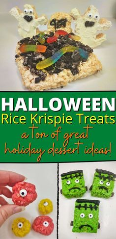 Let's celebrate the creepiest time of year with a whole collection of spooky snack food. All of these recipes are quick, easy, and no baking required. Halloween Rice Krispie Treats are a blast to make...and eat! #nobakedesserts #easydesserts #ricekrispietreats #halloween Rice Krispie Treats, Rice Krispies, No Bake Desserts, Easy Desserts, Snack Recipes, Snacks, Baking, Halloween, Holiday