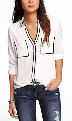 CONTRAST PIPING PORTOFINO SHIRT | Express