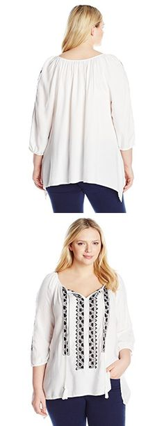 Karen Kane Women's Plus-Size Embroidered Top with Ties, Off/White, 0X