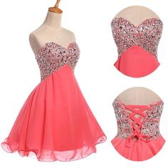 Sweet Beaded Strapless Homecoming Prom Ball Cocktail Short Party Evening Dresses #GraceKarin #BallGown #Formal