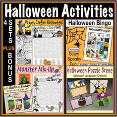 Capture the excitement of Halloween with this great bundle, which combines a variety of resources for individual learning and group activities. Includes: 1. Halloween Homophones Puzzle Pack 2. Monster Mix-Up Puzzle Pack 3. Halloween Bingo Set 4. Halloween Vocabulary Spooky Cut-Out & Stand Up Scene FREE BONUS: Creature Buddies - 3 Models (Frankenstein, Witch, Dracula) Easy to Build Halloween Word Search, Halloween Puzzles, Halloween Bingo, Halloween Words, Creepy Halloween, Halloween Activities, Group Activities, Craft Activities, Worksheets