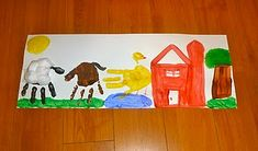 """Hand print farm art; i LOVE the colours. This is a must for my """"Over in the Meadow"""" unit."""