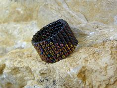 Beaded Ring in Bronzy Purple Rainbow Happy Rings by ariearts