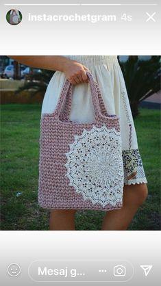 Doily t-yarn bag Free Crochet Bag, Crochet Purses, Diy Crochet, Crochet Boys, Learn Crochet, Crochet Designs, Crochet Patterns, Yarn Bag, Crochet Mandala