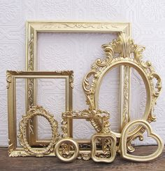 Vintage Gold Picture Frames For Baby Girl Nursery #walls