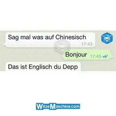 Lustige WhatsApp Bilder und Chat Fails 201 - Chinesisch, Französisch oder Englisch - Bonjour