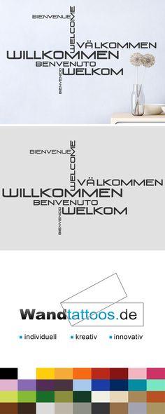 Wandtattoo Wortwolke Willkommen als Idee zur individuellen Wandgestaltung. Einfach Lieblingsfarbe und Größe auswählen. Weitere kreative Anregungen von Wandtattoos.de hier entdecken!