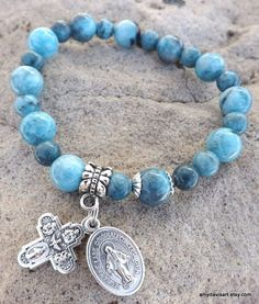 Blue Gemstone Rosary Bracelet Women's Small with Miraculous Medal (Virgin Mary) by AmyDavisArt on Etsy