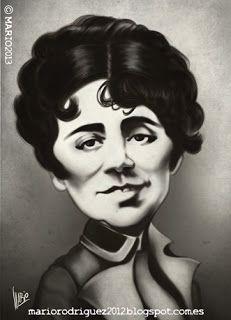 Caricatura Rosalía de Castro, de Mario Rodríguez