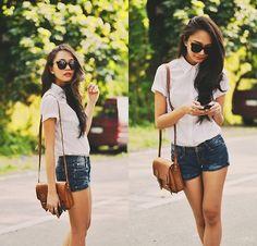 Sm Basics Shirt, shorts jeans, bag, sunglasses