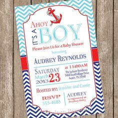 Abby's Shower invitation idea- Chevron Ahoy it's a boy baby shower invitation, blue, red, navy, anchor, nautical, digital file on Etsy, $13.00