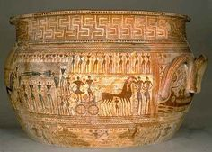 Pottery of Ancient Greece from the Geometric period showing illustrations of soldiers and chariots