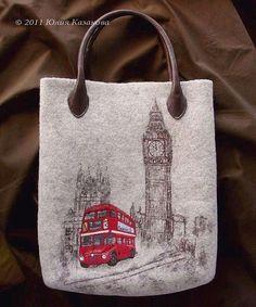 """Купить Войлочная сумка """"Лондон"""" (Коллекция """"Романтика городов& - войлок, Мокрое валяние, Сухое валяние"""