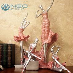 NEO 4 Different Styles Graceful Ballerina Ornament Dancing Girl Statue Ballerina Dancer Lady Figurine Home Decor(Pink Color)