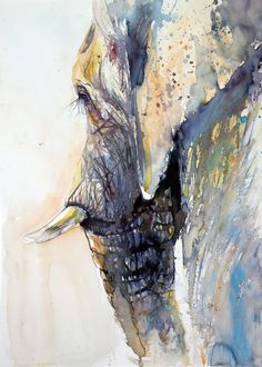 ARTFINDER: Elephant by Kovács Anna Brigitta - Original watercolour painting on high quality watercolour paper. I love landscapes, still life, nature and wildlife, lights and shadows, colorful sight. Abstract Animals, Watercolor Animals, Watercolor And Ink, Watercolor Paintings, Elephant Watercolor, Abstract Paintings, Watercolours, Art Paintings, Animal Paintings