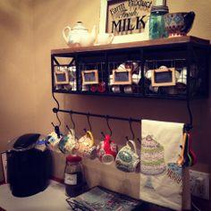 Hobby Lobby shelf for coffee bar.