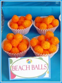 "Beach Party Food: ""Beach Balls"" in round clear bags"