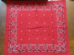 Vintage 1950s 1960s tiger head brand color fast bandana turkey red white square rockabilly motorcycle Western cowboy made in USA by TheDustbowlVintage on Etsy https://www.etsy.com/listing/229625806/vintage-1950s-1960s-tiger-head-brand