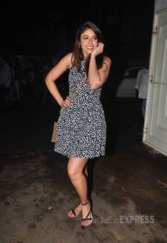 'Barfi' girl Ileana D'Cruz was super-cute in a monochrome dress with sandals at special screening of 'Finding Fanny'. #Bollywood #Fashion #Style #Beauty