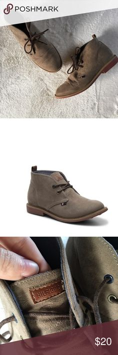 Tommy Hilfiger Michael Youth Chukka Taupe Boots Pre-owned Tommy Hilfiger youth Michael Chukka boots in the shade Taupe. Boy's size 2. In excellent shape, lace of the left boot has a tear on it- shown in photos- but they still look super adorable! Tommy Hilfiger Shoes Boots