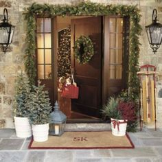 Christmas entryway lighted wreath, lanterns, initial mat, garland