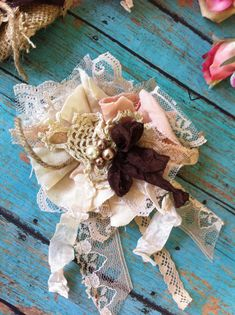 Shabby Linen & Lace with Peach and Brown by DolledandDazzled