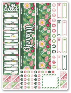 MAR Monthly View ... added to the shop! View/purchase at http://www.plannerpenny.com/products/mar-monthly-view-green-floral-planner-stickers?utm_campaign=social_autopilot&utm_source=pin&utm_medium=pin