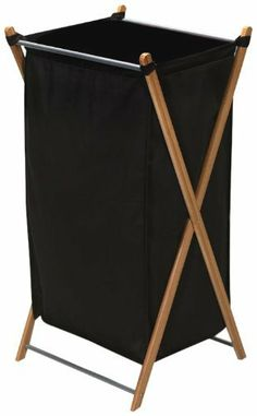 Household Essentials X-Frame Laundry Hamper, Bamboo Frame with Black Canvas Bag by Household Essentials. $18.34. 32.3-Inch H by 15-3/4-Inch W by 14.1-Inch D. Folds for easy storage. Bag is removable and machine washable. Heavy canvas bag holds two loads of laundry. Bamboo construction offers upscale design for laundry. 70% Polyester/ 30% Cotton. Household Essentials Bamboo collection is a gorgeous upscale design for a laundry hamper. This sustainable and renewable bamboo h...