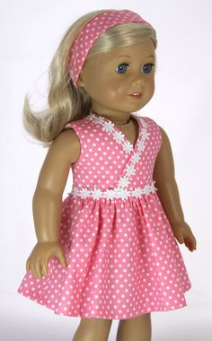Pink polka dot wrap dress & headband for by dollpetitecouture