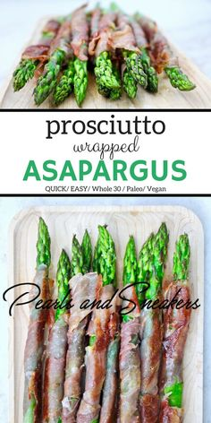 This two ingredient appetizer is FAST & EASY! It takes 10 minutes to make and cook & will be gone faster than it took to prepare. It's also #Whole30compliant #Paleofriendly #Dairyfree #GlutenFree #asparagus #prosciutto #appetizer #healthy