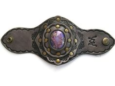 Tooled Leather Boho Cuff Purple Impression Jasper by karenkell, $83.00